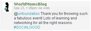 Thank you from tweet from WorldMomsBlog