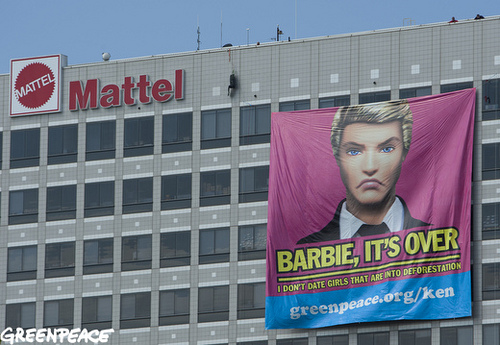 Greenpeace Banner at Mattel Headquarters
