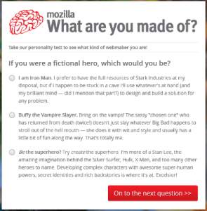 Mozilla Personality Quiz